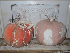 Nautical Pumpkin. Seahorse and Starfish.