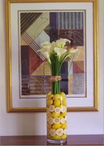 Yellow Wedding Reception Table Centerpiece with Lemons  Calla Lilies