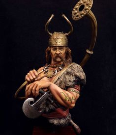 Model of Bronze age figure with Lur, ceremonial cult ax and Viksoe helmet.