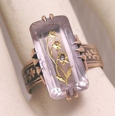 Antique Victorian Rose Gold Ring. Carved Crystal with Gold Leaf and Inset Diamond. Mourning Ring.