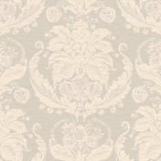 Cream and Silver Harvest Damask Wallpaper - Wall Sticker Outlet