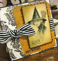 Wonderfully pretty handmade Halloween card featuring a Victorian illustration of a witch. #witch #Halloween #card #card_making #scrapbooking #scrapbooking #vintage