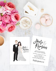 Gold Wedding Invitations Wedding Portrait by MissDesignBerryInc
