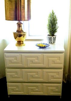 Night Stand?  Awesome!  Greek key overlays you can buy and add to the uber affordable malm drawers at ikea