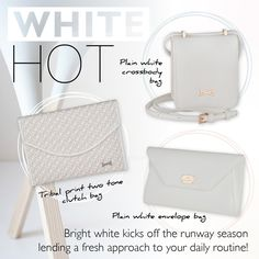 Highlight your daily outfit with white and minimal options! Daily Outfit, Printed Bags, White Envelopes, Louis Vuitton Damier, Highlight, Minimal, Hot, Pattern, Accessories