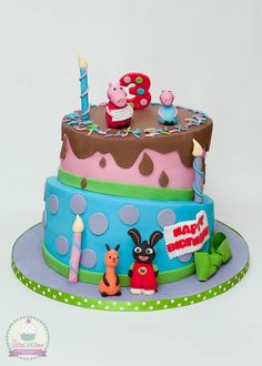 Peppa Pig, George, Bing and Flop topsy turvy cake. Second Birthday Cakes, Birthday Ideas, Bing Cake, Peppa Pig, Party Time, Cake Decorating, Tv, Food, Girls