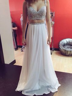 Sexy Sweetheart With Beading A Line Crop Top Two Pieces Chiffon Evening Dresses Prom Dresses Party Dresses Women Fashion Dresses