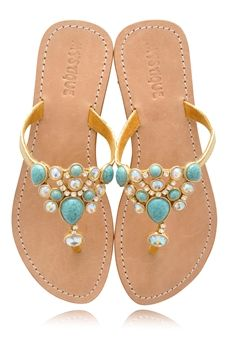 a0d4840a6783b MYSTIQUE Turquoise Jeweled Sandals -  WOMENSHOES Dressy Sandals