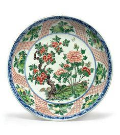 An unusual wucai saucer dish, 17th century