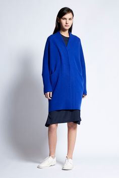Signature Cashmere jacquard knit 'pod' coat with pockets to the front. Must have for every wardrobe that can be worn throughout the year. Cashmere Made in Mongolia One Size Deep Blue, Must Haves, Cashmere, High Neck Dress, Spring Summer, Coat, Collection, Dresses, Fashion