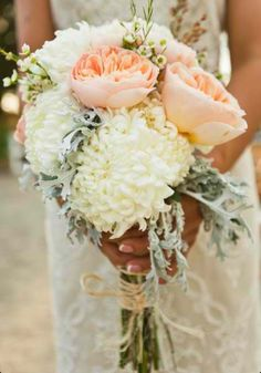 Bridesmaid bouquets - David Austin roses, china mums and dusty miller