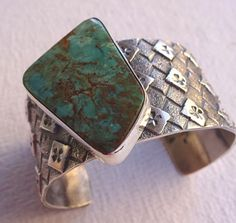 Signed NAVAJO PILOT MOUNTAIN Turquoise TUFA CAST Cuff BRACELET by Kevin Yazzie #AUTHENTICNATIVEAMERICANJEWELRY