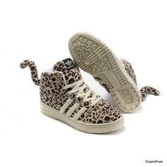 ac7a2f093bea Jeremy Scott x Adidas Originals Hairy Leopard Tail High-Top Sneakers