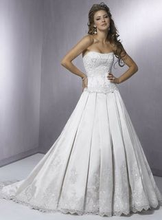 Strapless Crystals Beaded Lace Satin A-line/princess Wedding Dress