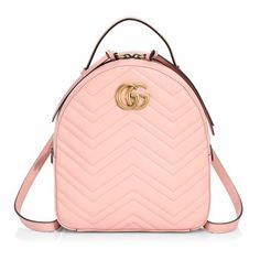 Gucci Gg Marmont Chevron Quilted Leather Mini Backpack ($1,790) ❤ liked on Polyvore featuring bags, backpacks, pink, gucci backpack, miniature backpack, gucci knapsack, chevron backpack and gucci bags