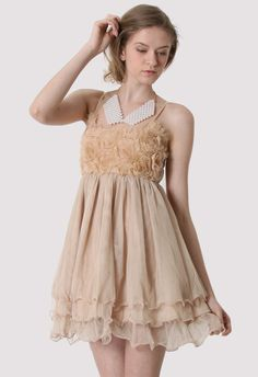 #Chicwish  3D Flower Bustier Dress in Nude - New Arrivals - Retro, Indie and Unique Fashion