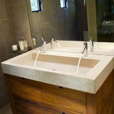 Looking for Concrete Bath Sinks? View Concrete Bath Sinks and get ideas for Concrete Bath Sinks. Information on local Concrete Bath Sinks showrooms. Trough Sink Bathroom, Large Bathroom Sink, Concrete Bathroom, Large Bathrooms, Vanity Sink, Amazing Bathrooms, Modern Bathroom, Concrete Sink, Master Bathroom