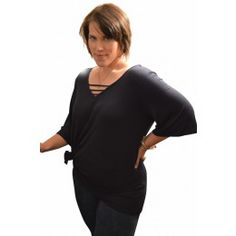 Vanessa Top $88 QUICK OVERVIEW The Vanessa top features a trendy V-neck and 3/4 sleeves that make for the perfect lightweight piece for a casual day to evening out transition!  Rayon/Poly/Spandex Available in Sizes XL-3XL Made in the USA