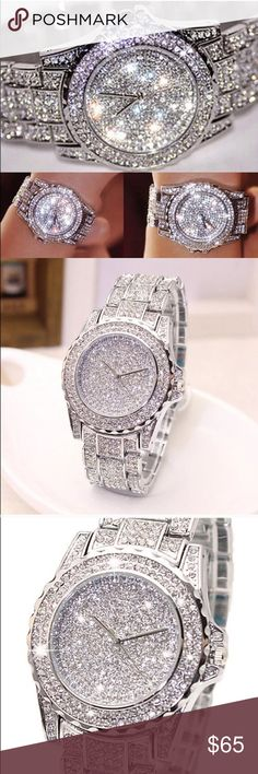 """Viva Las Vegas Baby The love """"child"""" of Liberace and Zsa Zsa Gabore Major Bling Factor. Stainless Steel with Australian Crystal. Link band allows you to have them removed for a custom fit. Absolutely Stunning Boutique Quality Brand New Accessories Watches"""