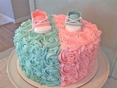 GENDER REVEAL CAKE gender reveal cake. I have to have this cake at my first baby shower one day. But, I would like it square not round. #babyshower by laurie