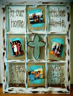 Salvaged window from Southern Accents Architectural Antiques turned into a beautiful art piece by artist Amber Stone.