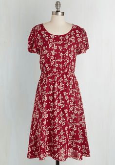 Particularly Precious Dress. Youve had plenty of favorite styles throughout your haute history, but this vintage-inspired dress simply takes the cake! #red #modcloth