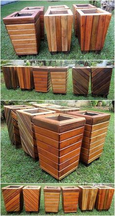 DIY pallet and wood planter box ideas don't have to be predictable. Discover the best designs that will give your deck a touch of style in DIY planter box designs, plans, ideas for vegetables and flowers Wood Pallet Planters, Wood Planter Box, Wooden Pallet Projects, Wooden Pallet Furniture, Diy Planters, Wooden Pallets, Wooden Diy, Pallet Ideas, Pallet Wood