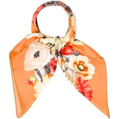 Pre-owned Salvatore Ferragamo Silk Floral Scarf ($130) ❤ liked on Polyvore featuring accessories, scarves, orange, silk shawl, floral scarves, salvatore ferragamo, floral print scarves and orange scarves