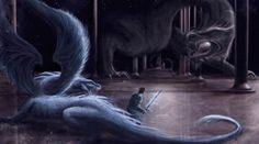 Eragon & Saphira fighting<<< Except the dragons wing aren't supposed to be FEATHERS