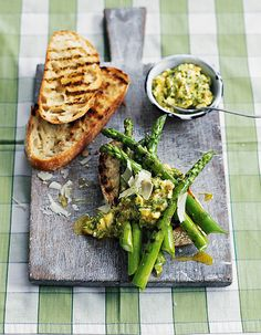 Sauce gribiche is a mayonnaise finished with herbs, chopped capers and cornichons. It works beautifully with the asparagus in this seasonal starter recipe.
