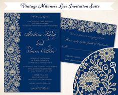 Lace Wedding Invitation Suite, Vintage Milanese Lace, Midnight Blue & Ochre - Customizable, Original Designs