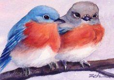 Bluebird Art Print Watercolor Blue Bird Painting door ZehOriginalArt