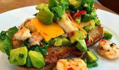 7 minute brunch with garlic prawns, avocado and chilli Chilli Garlic Prawns, Recipe Search, Brunch Recipes, Avocado Toast, Baked Potato, Yummy Treats, Cooking Recipes, Tasty, Dinner