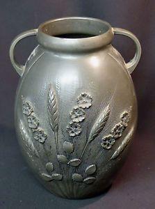1900-superbe-vase-pot-CORTESI-en-etain-1-9kg27cm-art-nouveau-coquelicots-ble Art Nouveau, Pots, Decoration, Pewter, Trays, Metal, Vases, Silver, Poppies