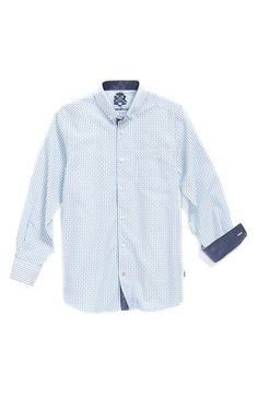 Boy's English Laundry Check Cotton Dress Shirt