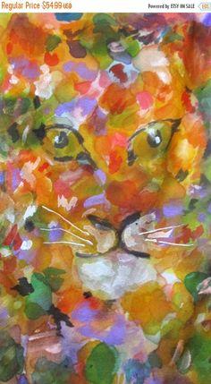 "LADIES OOAK hand painted silk scarf inspired by Leroy Neiman ""Hidden Tigers"" Glorious colors/wearable art  http://etsy.me/2mpAALu  via @Etsy"