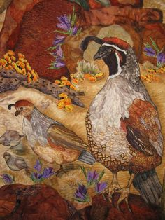 Quail on a Quilt at PIQF. Just a section.