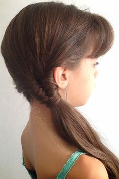 Simple side ponytail with infinity braid by @mimiamassari