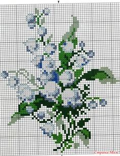 """Cross Stitch :Lilies of the valley.: Diary of """"Embroidery and everything about it"""" - Country Mom Beaded Cross Stitch, Cross Stitch Flowers, Cross Stitch Charts, Counted Cross Stitch Patterns, Cross Stitch Designs, Cross Stitch Embroidery, Owl Quilt Pattern, Needlepoint Christmas Stockings, Rug Hooking Patterns"""