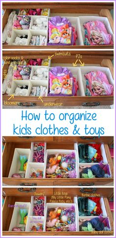 Easy Tips for Organizing Kids Clothes and Toys is part of Kids Clothes Organization - I'm sharing the easiest way for organizing kids clothes and toys You won't believe how affordable it is and how easy it is for kids to keep it organized! Dresser Drawer Organization, Kids Clothes Organization, Organization Hacks, Closet Organisation, Organize Kids Clothes, Diy Clothes, Playroom Organization, Organizing Tips, Organize Kids Bedrooms