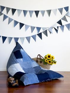 Jeanbag and denim bunting