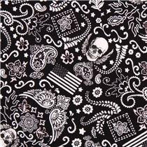 Tissu Timeless Treasures noir avec des mini crânes