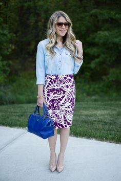 tropical skirt chambray shirt fashion outfit
