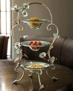 """Three-Tier """"Morning Glory"""" Stand by Janice Minor at Neiman Marcus."""