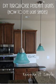 Turquoise Blue Pendant Lights- How to dye light shades #pendantlights @keepingitsimple