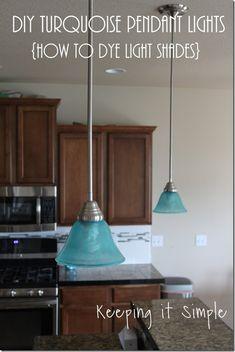 Turquoise Blue Pendant Lights- How to dye light shades #pendantlights @keepingitsimple