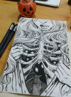 Halloween art black and white draw drawing girl Halloween art black and white draw drawing girl This image has get. Dark Art Drawings, Pencil Art Drawings, Art Drawings Sketches, Cool Drawings, Tattoo Sketches, Tattoo Design Drawings, Beautiful Drawings, Beautiful Pictures, Arte Sketchbook