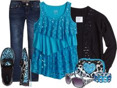 Blue Sparkle - Justice Girls - Cute outfits for boys and girls, plus has a promo code for 40% off this outfit.