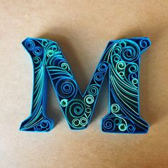 Quilled Paper Made Blank Card inch Letter M Feather - Best Paper Quilling Designs Quilling Letters, Quilling Work, Paper Quilling Patterns, Quilled Paper Art, Quilling Paper Craft, Quilling Cards, Paper Crafts, Quilled Creations, Christmas Gift Decorations