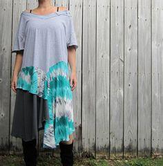 8138553c3 Oversized turquoise tie dye upcycled dress/ by 75Rabbit on Etsy, $49.99  Recycled Clothing,